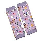 la.nunu Stulpen für Mädchen - Pferde Flieder 0-23 Monate - Kinderstulpen aus Baumwolle - Handarbeit - Baby Kinder Beinstulpen Babystulpen