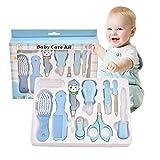 HLJS Babypflege Set 10 Teilige Baby Erstausstattung Pflegeset Neugeborene Babypflege-Kits, Babypflegeset Mit Nasensauger Kamm Nagelschere Für Baby Alltag Pflege (blau)