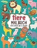 Tiere malbuch für Kinder ab 2 Jahren: 50 schöne und süße Tiere zum Ausmalen, Geschenke für 2 Jahre alte Mädchen und Jungen