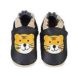 Baby Lauflernschuhe Jungen Mädchen Weicher Leder Krabbelschuhe Kleinkind Babyhausschuhe Rutschfesten Wildledersohlen(A-Schwarzer Tiger, 12-18 Monate)