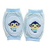 Isuper Baby Knieschoner, Baby Knieschützer mit Anti-Rutsch Cartoon Ellenbogen Pad für Baby Mädchen oder Jungen Krabbelhilfe für Kleinkinder von 0-bis 2 Jahre (Blau)