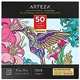 Arteza Malbuch für Erwachsene, 22.9 x 22.9 cm Ausmalbuch Tiere mit 50 Motiven, 150 g/m² abnehmbare Seiten, Anti Stress und Entspannung